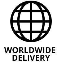 Worldwide delivery logo badge for Rock And Muse kids, toddler, girl boy and baby clothing brand