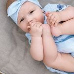 Light blue summer outfit for kids - baby girl. Bodysuit dress and tie knot headband.