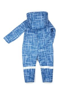 Unisex blue soft shell jumpsuit with stripes for kids, toddlers, baby, girls and boys