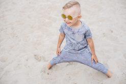 Grey unisex kids jersey harem shorts and shirt set for toddler boys and girls