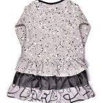 Grey faces and splashes dress with ruffles on the back for girl, kid, toddler