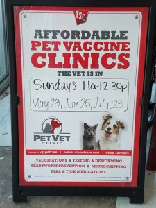Pet Clinics Sign at Tractor Supply