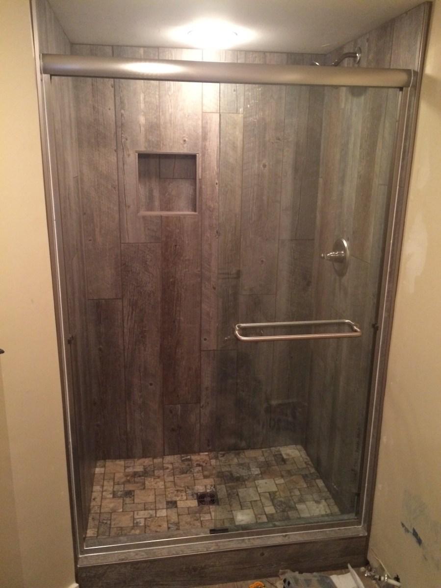 Barn WoodLook Shower  Rockbridge Flooring Professionals LLC