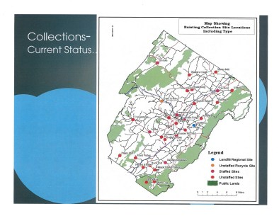 This map shows the existing collection for garbage at specific site locations, including type.
