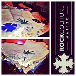 Recycled cashmere bootie shorts w leather applique rockcouturemalibu