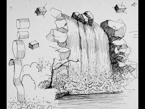 How to draw a waterfall realistically