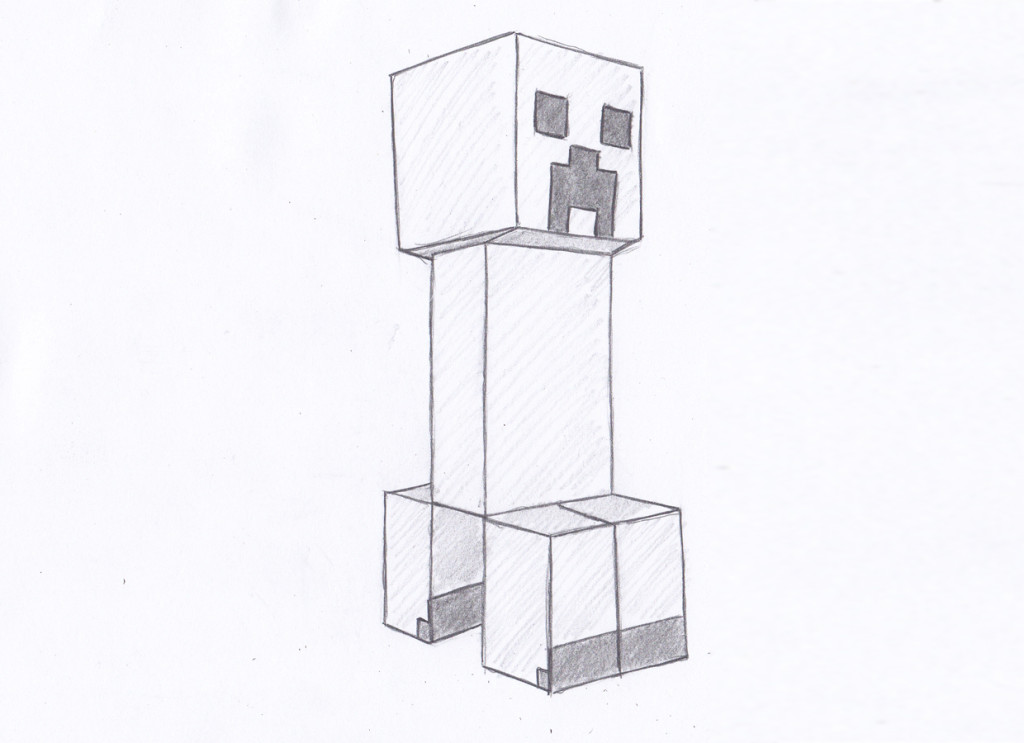 How to draw creeper face for beginner in minecraft step by