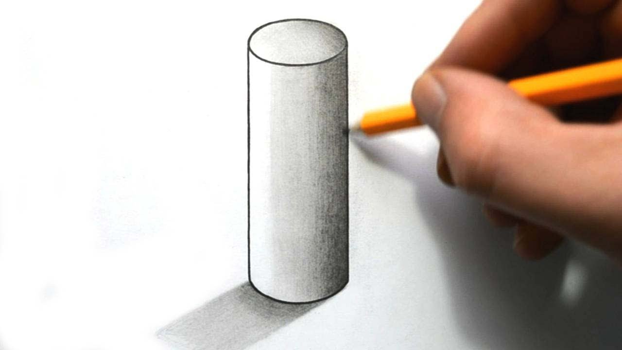 How to draw cylinder in 3d perspective easy step by step for