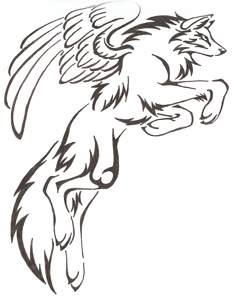 How to draw amazing cartoonish wolf with wings for beginners