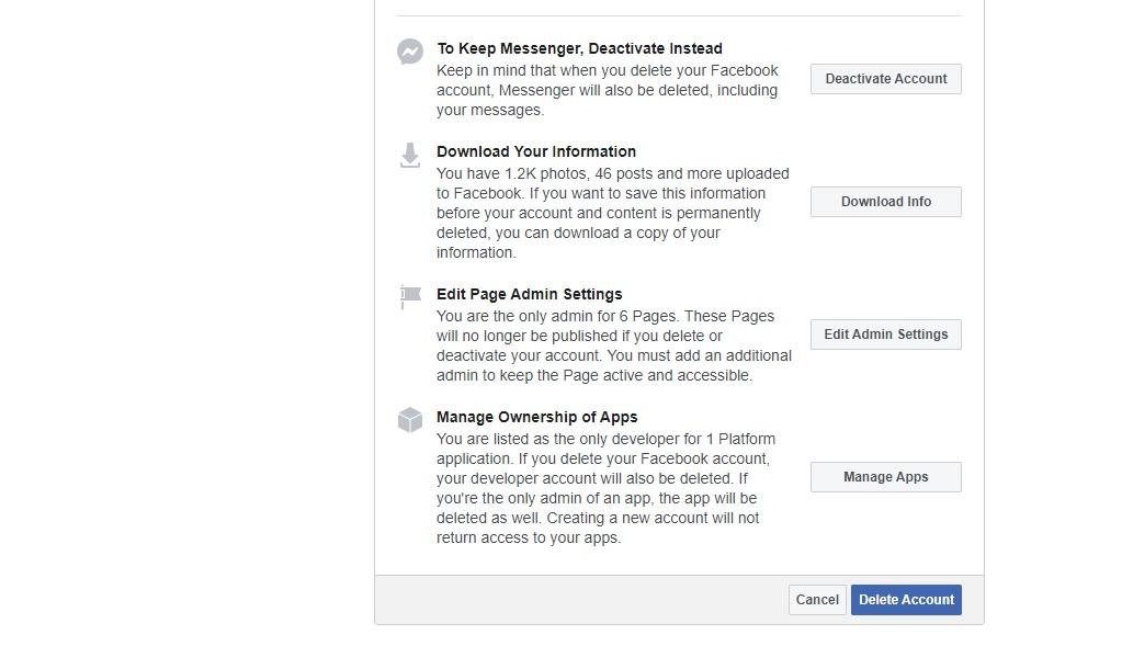 Facebook delete link 2020