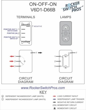 V6D1 Rocker Switch | ONOFFON | SPDT | 2 lights | Rocker
