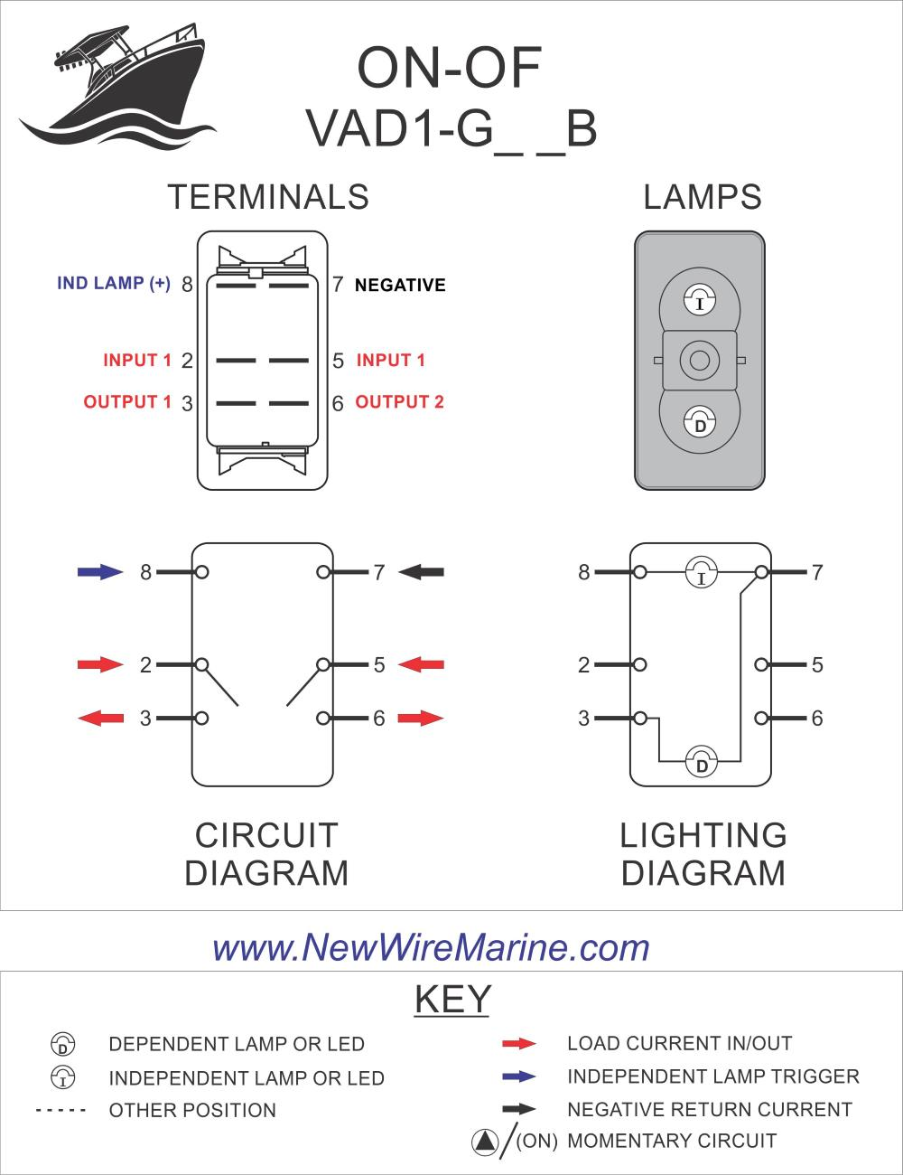 Carling Switch Wiring Diagrams : carling, switch, wiring, diagrams, Double, Rocker, Switch, ON-OFF, Illuminated