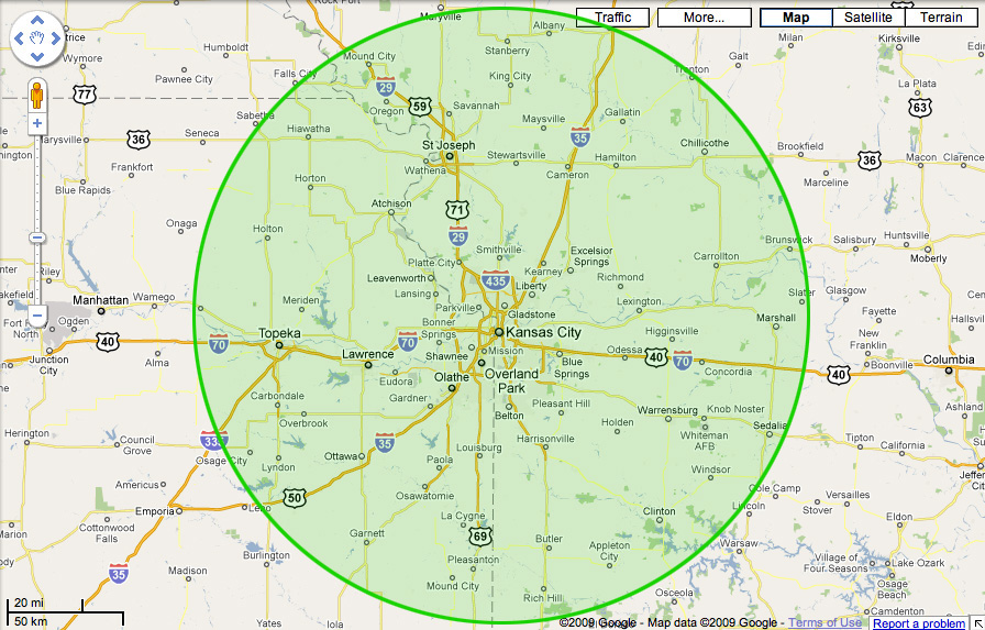 Kansas City 80 Mile Radius