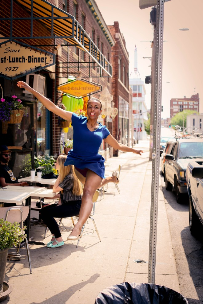 Maura Garcia leaping on sidewalk - Photo credit to Jenny Wheat