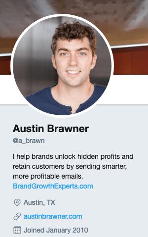 Austin Brawner's Twitter account