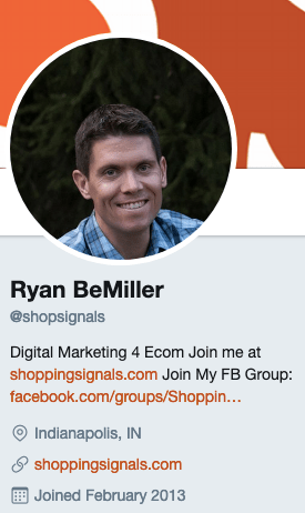 Ryan BeMiller's Twitter account
