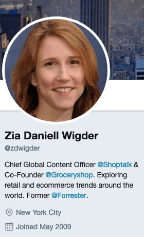 Zia Daniell Wigder's Twitter account