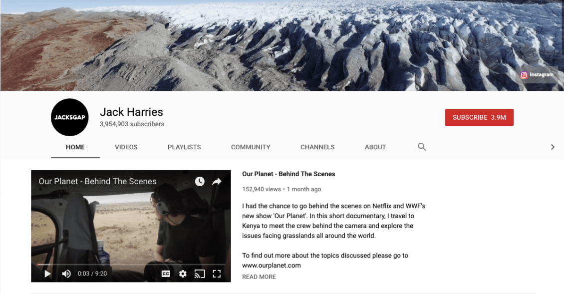Jack Harries has about 4 million people subscribed to his YouTube travel vlog