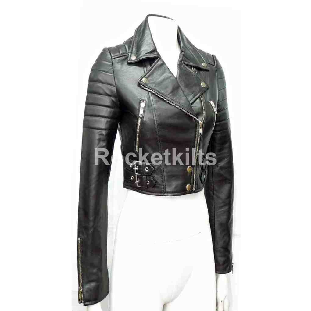 modern and elegant in fashion new specials factory price Missy Ladies Women's Black Short Biker Cropped Leather Jacket