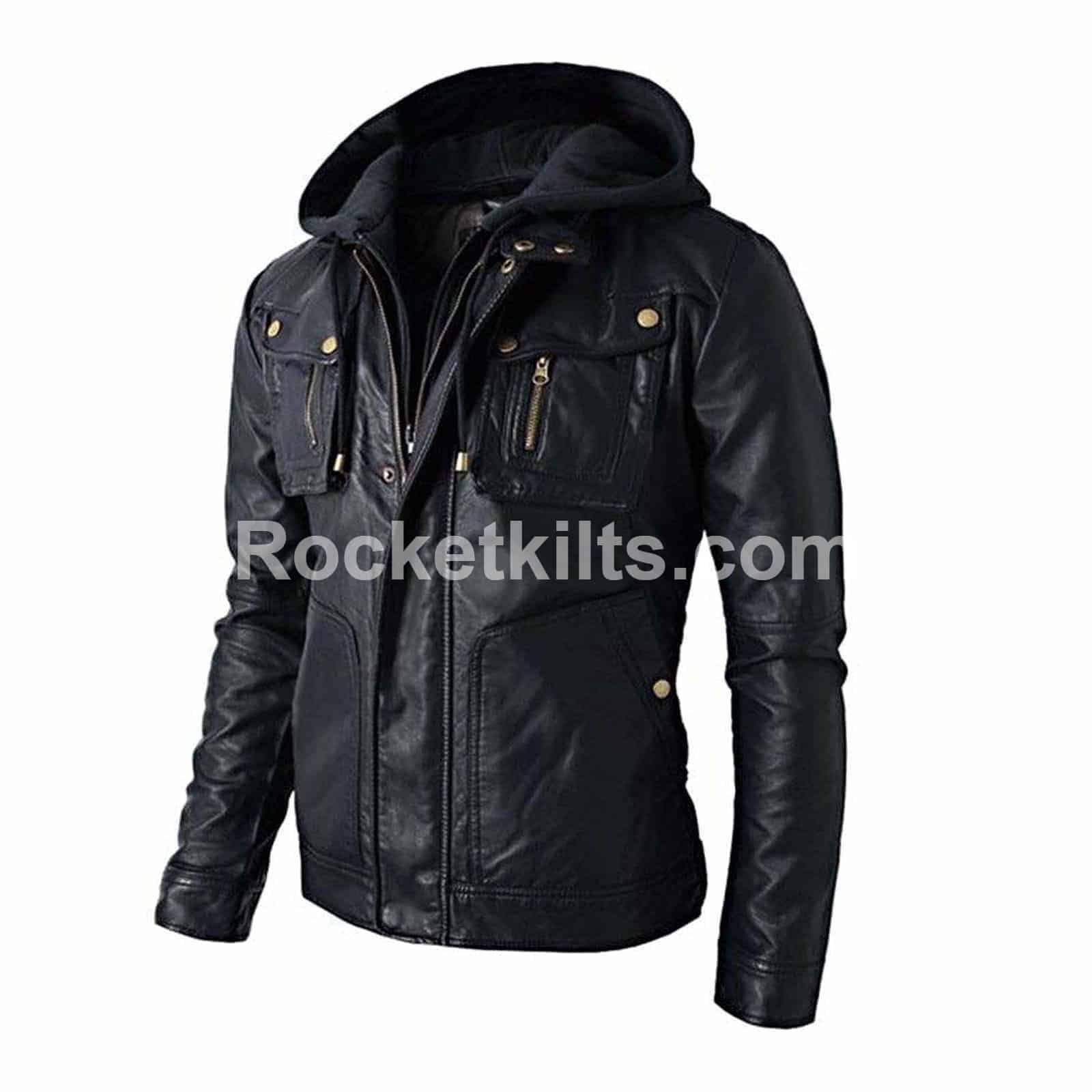0d281d262 New Stylish Men's Brando Style Biker Hooded Leather Jacket