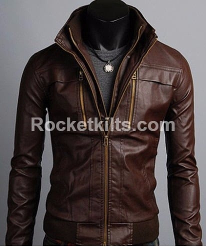 7a1d9d6a New Stylish Men's Brando Style Biker Hooded Leather Jacket