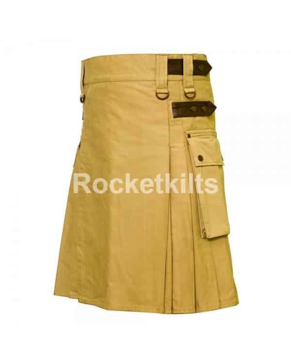 utility kilts,khaki kilts,Leather Strap, Utility Kilt, Mens Kilt, stylish kilt,utility kilt for the active men,contemporary kilts