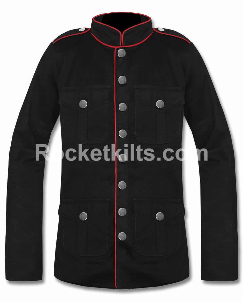 a047975032a Military Black Goth Army Officer Pea Coat Mens