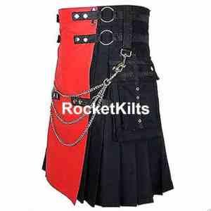 Red and Black Kilt, Utility Kilts,Fashion Kilts,utility kilt, red kilt men, men's utility kilt, modern kilt