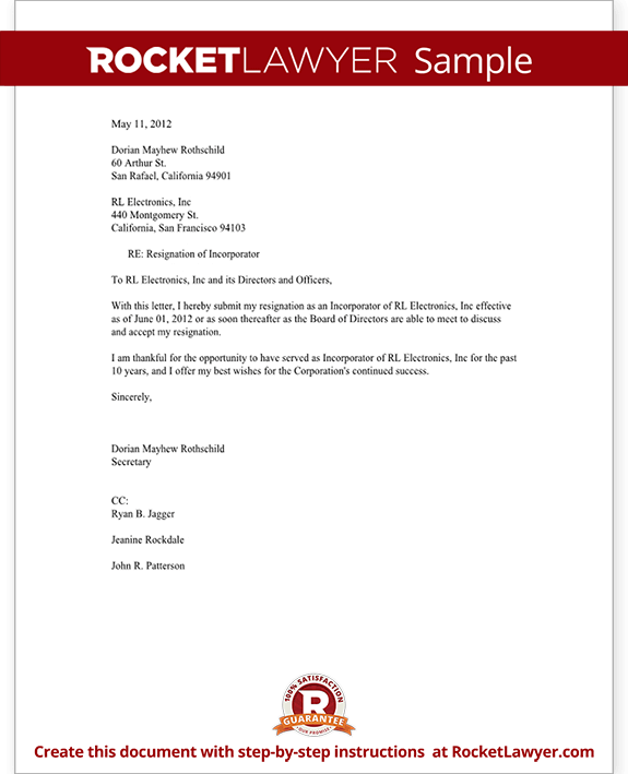 Sample Resignation Letter Good Terms | Resume Writing ...