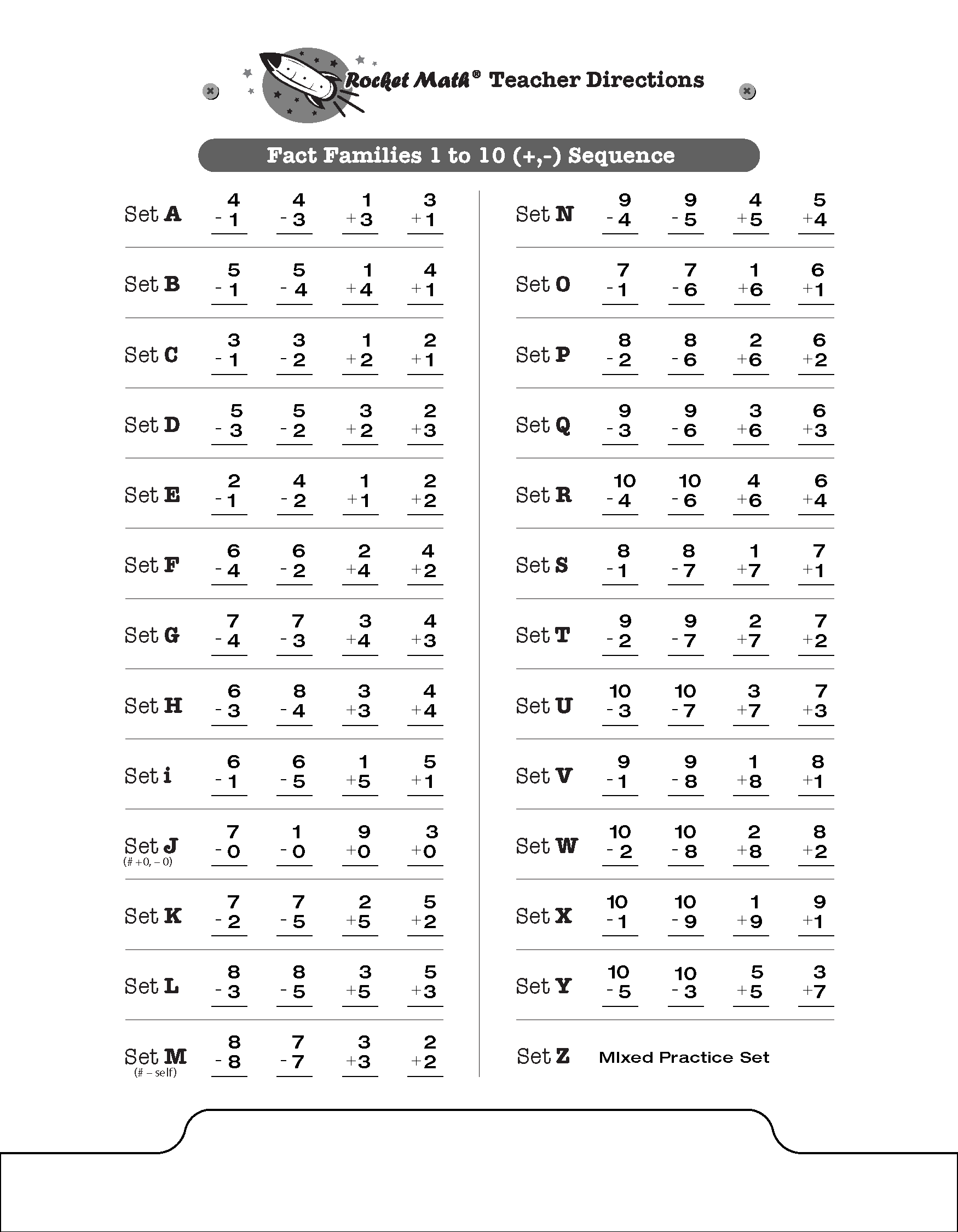 Practice rocket math see to the right 25 examples of fact families such as set a 31 13 4 1 4 3 the sheet shows the sequence of learning facts in the new rocket math robcynllc Images