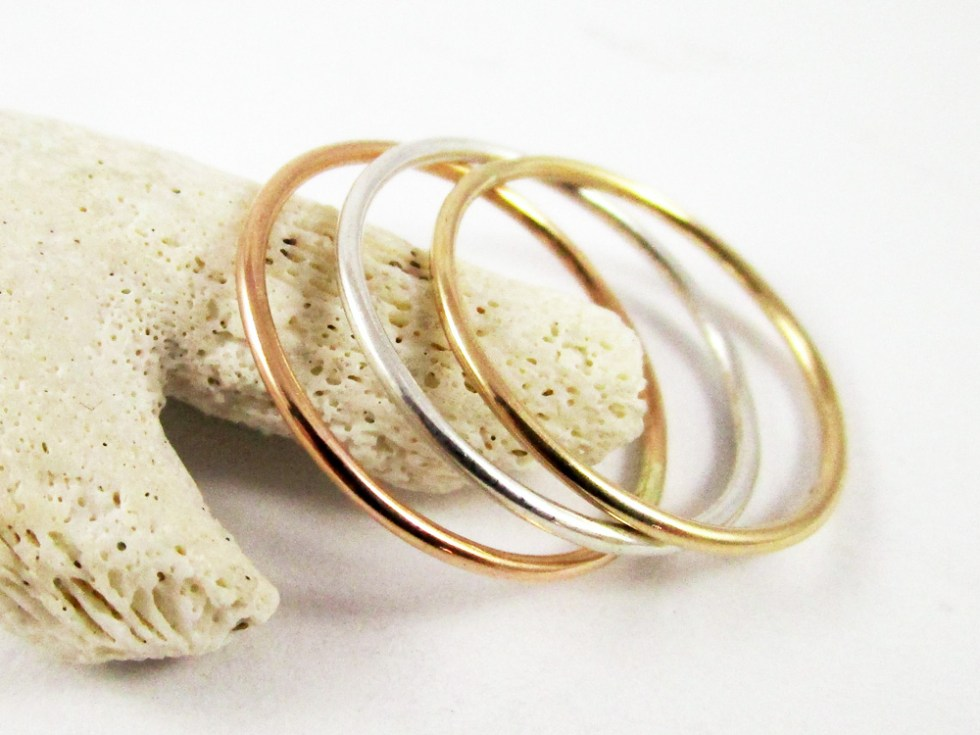 Stacker Ring Set (3) Gold Filled Silver Plain