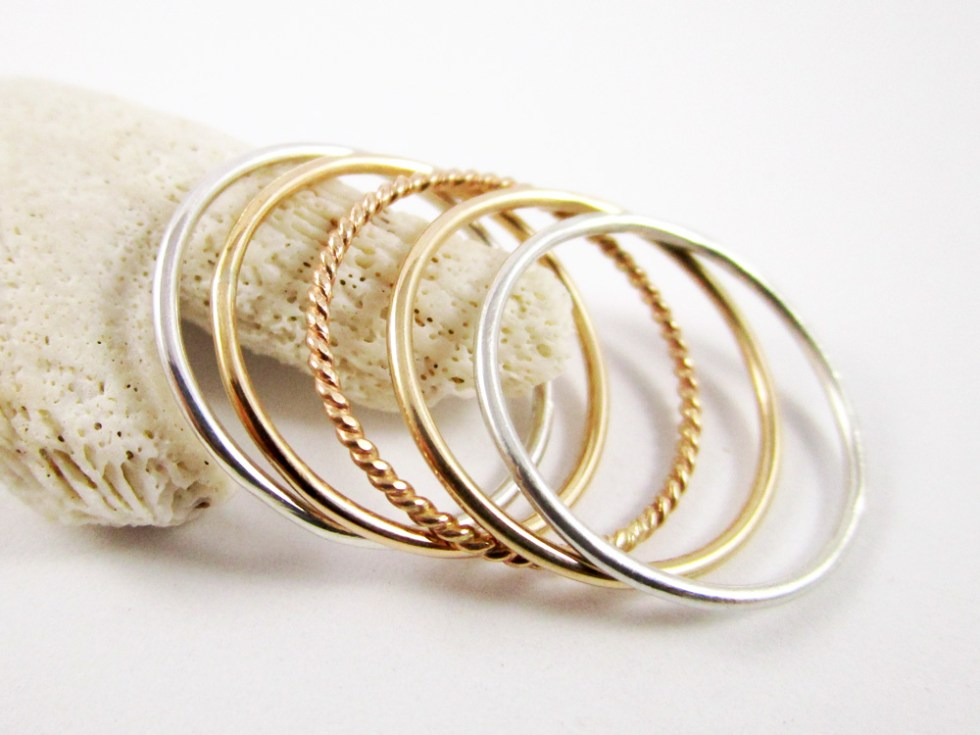 Stacker Ring Set (5) Silver Gold Filled Plain Twist