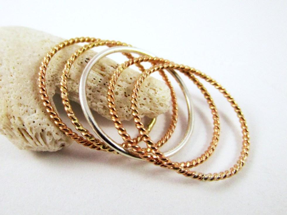 Stacker Ring Set (5) Gold Filled Silver Twist Twist Plain
