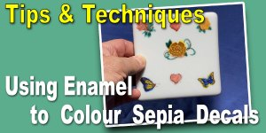 Using Glass Enamels to Colour Custom Fused Glass Sepia Decals