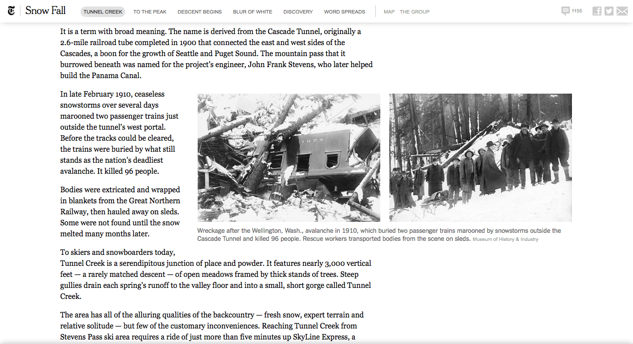 Snow fall breakdown how the new york times built a multimedia story column spanning images fandeluxe Image collections
