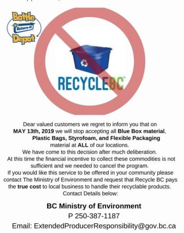 Poster explaining that Bottle Depot will no longer accept blue box materials at their Victoria locations.