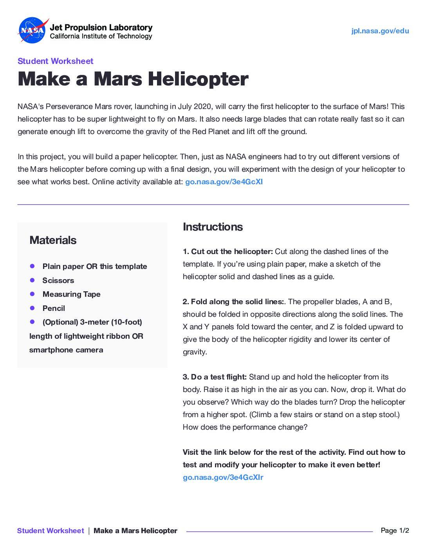 Paperhelicopter Worksheet