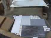 The tiles are all second hand and kindly donated by my friend Greg who conveniently works in a tile store!