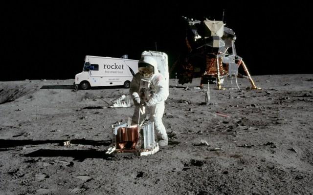 apollo 11 with rocket on moon