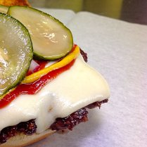 The Right Stuff Burger: American Cheese, Ketchup, Yellow Mustard, Raw Onion, Pickles