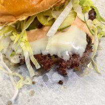 Mission Control Burger: Rocket Sauce, Raw Onion, Dill Pickles, Lettuce