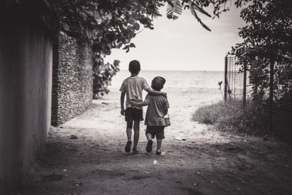 Brothers walking