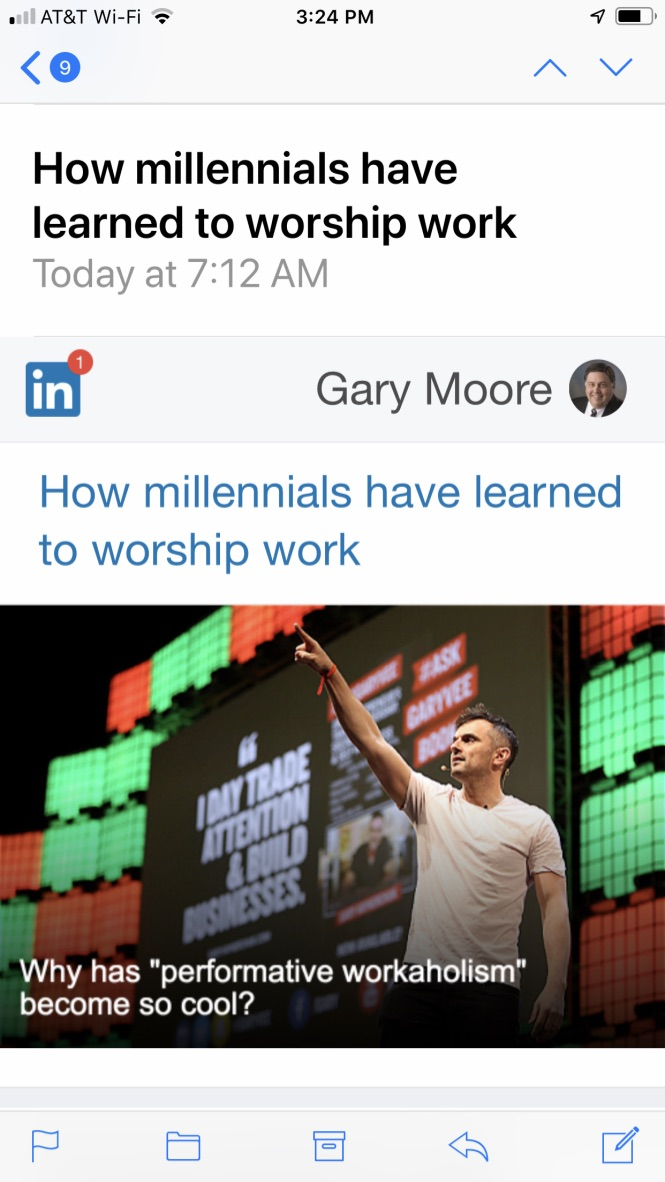 LinkedIn picture on mobile phone showing article about Millennials worshiping work.