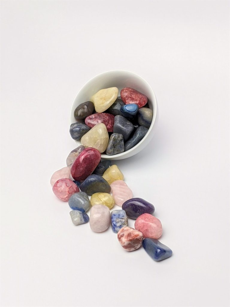 a bowl of mineral stones