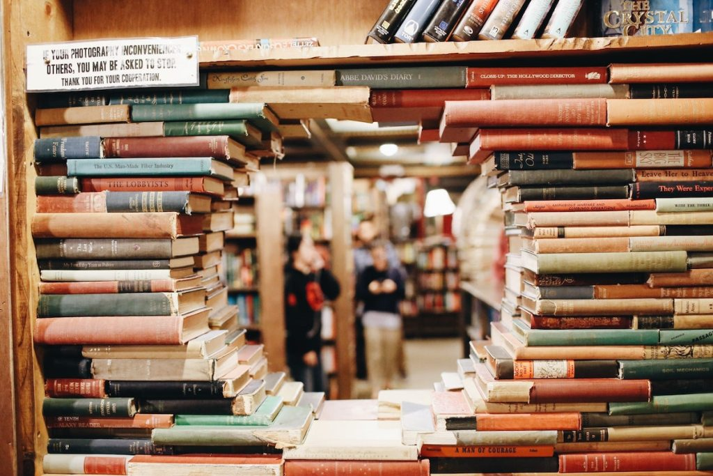 stack of books in a bookstore
