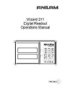 Anilam wizard 211 dro digital readout owners manual