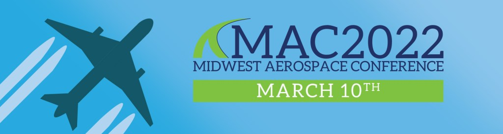 Midwest Aerospace Conference - MAC2022 - Blue header with plane and contrails