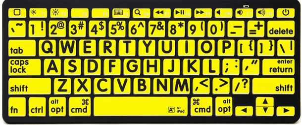 Bluetooth keyboard with larger, bold, black capital letters on yellow background