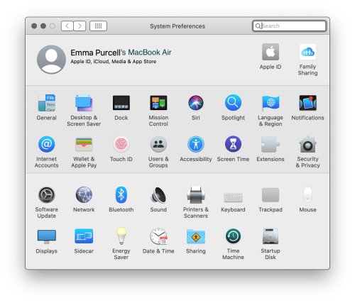 Emma Purcell's MacBook Air - System Preferences homepage