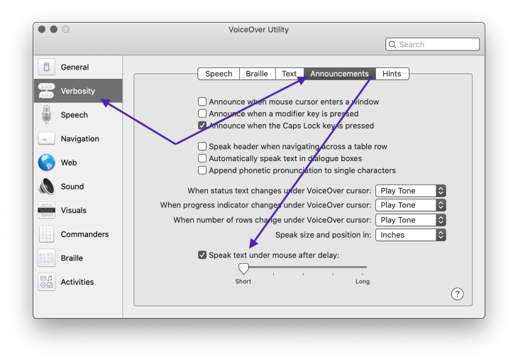 VoiceOver Utility page with purple arrows pointing to Verbosity, Announcements & Speak text under mouse after delay